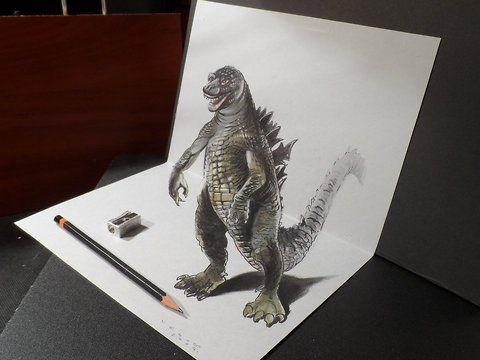 Drawing a legendary monster. <br />The world's most famous monster is pitted against malevolent creatures who, bolstered by humanity's scientific arrogance, threaten our very existence. Drawing a realistic Godzilla.<br />How to draw a realistic Godzilla. Mixed media.<br />Materials used: <br />Pastell paper: light gray.  <br />H graphit pencil (Derwent) <br />Markers: Letraset PROMARKER <br />Black and white charcoal pencil.<br />White gel pen.<br />Black Faber - Castell pen 0,7. <br />Soft…