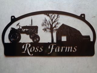 Rustic, personalized metal sign with old barn and tractor scene. Measures 30 x14.5. Powder coated black or beautiful rustic bronzed finish and clear coated, or red . Makes a very attractive entrance sign.Included with the price is customizing with your name.Our finish is a baked on powder coat for a very long lasting durable finish WHEN YOU PLACE YOUR ORDER: PLEASE LEAVE NOTE TO SELLER WITH NAME AND OR EST. DATE YOU WANT ON SIGN