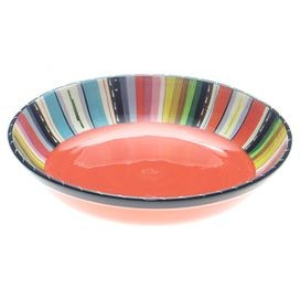 "Hand-painted stoneware bowl with Southwestern striping.   Product: Serving bowlConstruction Material: StonewareColor: MultiFeatures: Hand-paintedDimensions: 3"" H x 13.25"" DiameterCleaning and Care: Dishwasher and microwave safe"