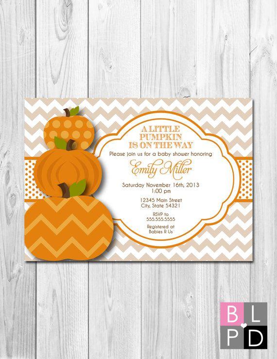 Little Pumpkin Baby Shower Invitation   Fall Baby Shower   Tan Brown And  Orange   Chevron Stripes   Printable