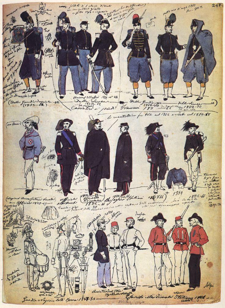 01 Uniformi varie degli anni 1860 e precedenti, anche estere
