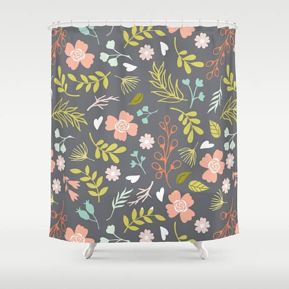Check out Floral Shower Curtain, Gray Shower Curtain, Flower Shower, Nature Shower Curtain, Garden Shower, Boho Shower Curtain, Samantha, Peach, Green on peppermintcreek