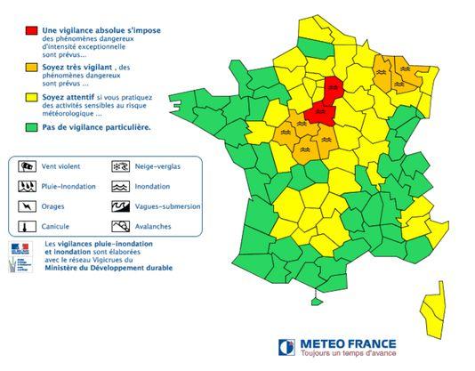 La carte de vigilance établie par Météo France le 1er juin.