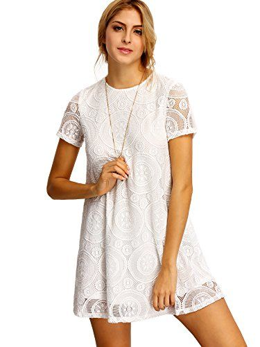 451b61012e Romwe Women s Short Sleeve Summer Lace Wide Hem Dress White L Attention   Please check our ROMWE SIZE CHART ! ! !And please measure your Bust Chest  to Choose ...