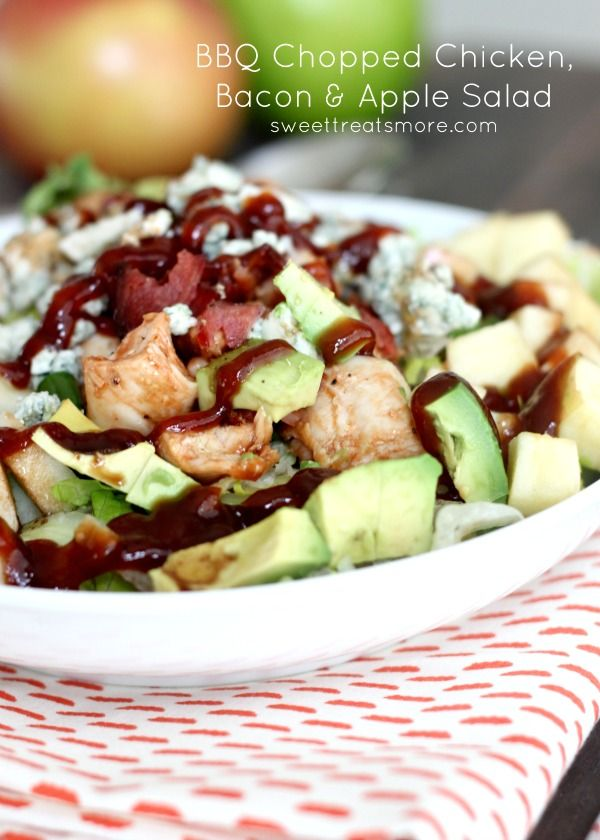 Flavor with a Crunch! BBQ Chopped Chicken, Bacon & Apple Salad Recipe - I did an awesome variation on this. I skipped the chicken and balsamic vinaigrette and doubled the bacon and avocado. For dressing, I mixed 1 part BBQ Sauce (Sweet Baby Ray's) to 2 parts Ranch dressing.
