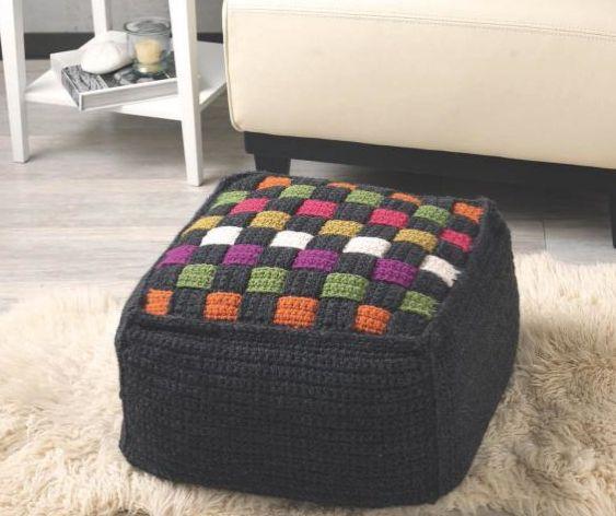Technicolor Cube Ottoman #crochet pattern by Regina Rioux in Crochet at Home