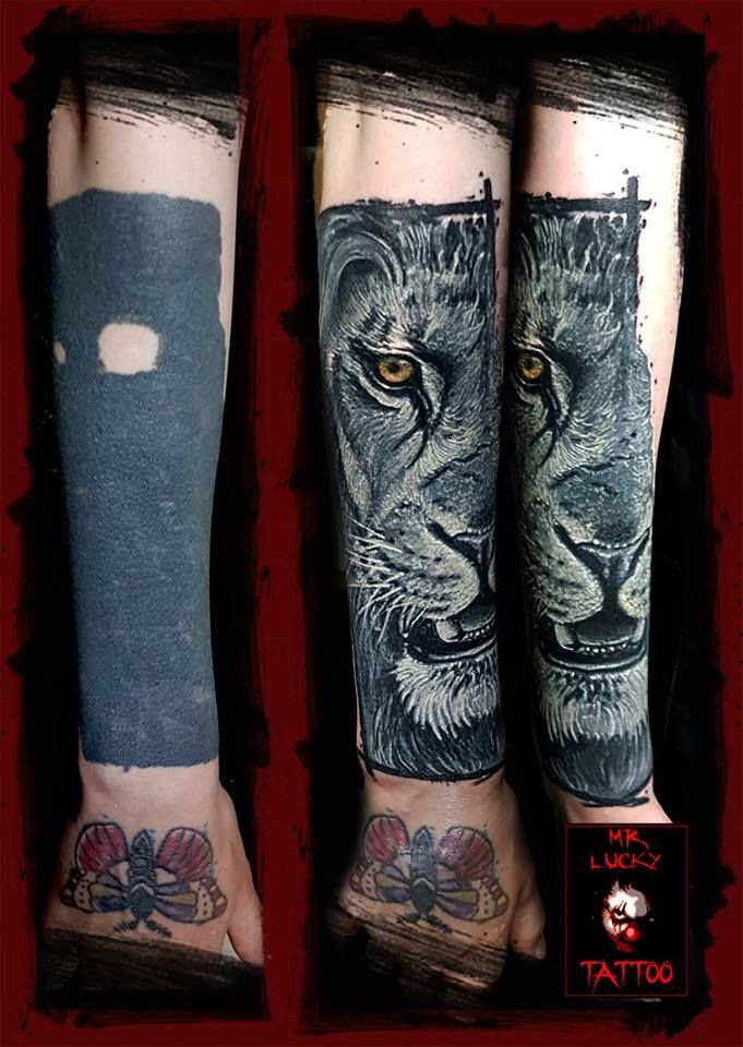 By Lucky #cover #coverup #blackworkcover #liontattoo #lioncover ...