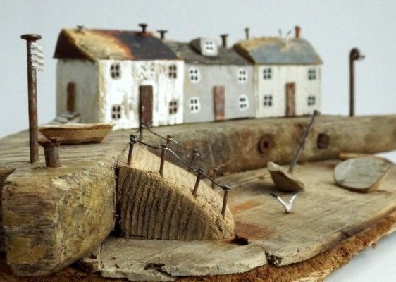 """There's a special charm about Kirsty Elson's driftwood houses. With their tiny windows, weathered driftwood doors and roofs of wood or slate held on with rusty nails, they evoke the naive art of St Ives 19th century fisherman-painter Alfred Wallis."" (Sarah Pitt, Western Morning News)"