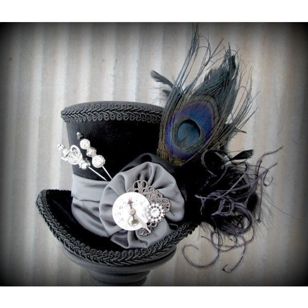 The White Rabbit's cool cousin The Black Rabbit Mini Top Hat, Alice in... (90 CAD) ❤ liked on Polyvore featuring accessories, hats, rabbit fur hat, mini tea party hats, mini hats, rabbit hat and steam punk hats