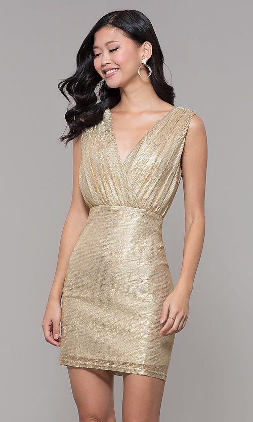 024a18b78b Gold Short V-Neck Holiday Party Dress