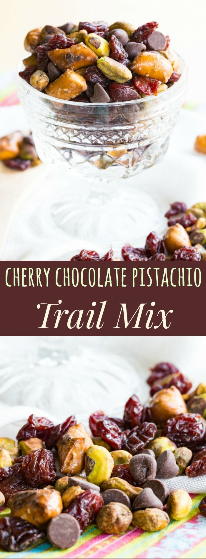 Cherry Chocolate Pistachio Trail Mix - a sweet and salty snack mix that will satisfy you with protein and fiber when afternoon hunger strikes. In the office or outside having fun, you'll love this combination of dried cherries, chocolate chips, pretzels,