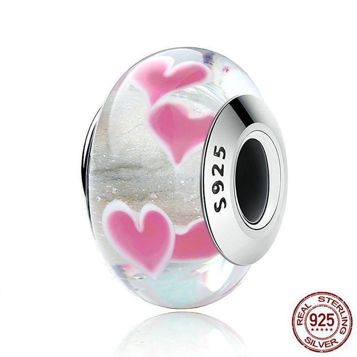 Cuori selvaggi con vetro di murano Charm bead 100% argento sterling 925 adatta misure Pandora charm Pandora bead e Braccialetto europeo di OceanBijoux su Etsy