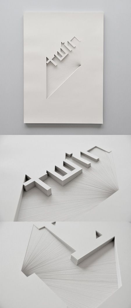 3D letter forms created with multiple sheets of paper. Timeless print object to be displayed forever
