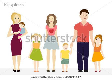 People and children vector at the simple style. Colorful clothes. On a white background