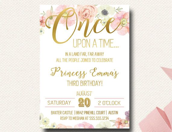 Once Upon A Time Fairy Tale Birthday Boho Invitation Princess Gold and Floral