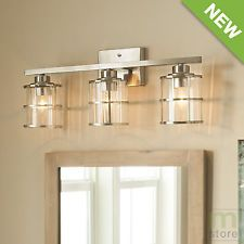 Bathroom Vanity 3 Light Fixture Brushed Nickel Cage Wall Lighting Allen +  Roth $103