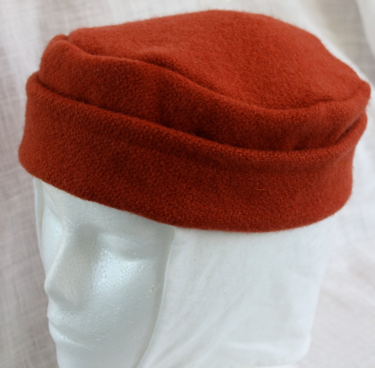Medieval Hat Set: Orange Wool Cap and Linen Coif Made to Order