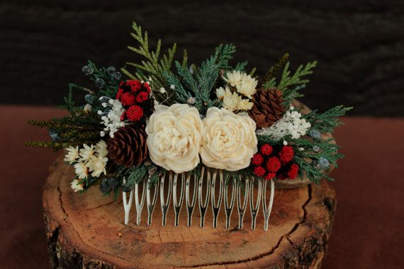 Winter Wedding Hair Comb Rustic Winter by SmokyMtnWoodcrafts