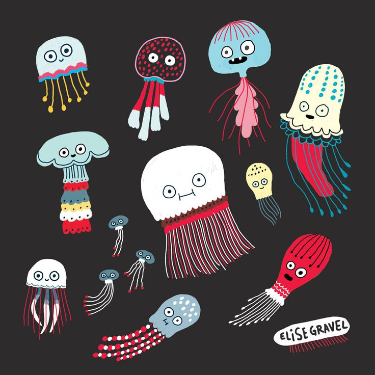 Elise Gravel illustration • jellyfish • sea • art • painting • gouache • dark background • fun • cute • art • méduse