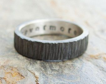 I selected this one (for me!).  Rugged Blackened Tree Bark Wedding Band for Men or Women - Dark Silver Wood Grain Ring with Personal Inscription - Flat Rectangular Band