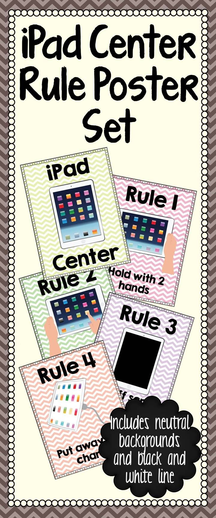 iPad Center Rule Poster Set: Remind your students the rules of how to use the classroom iPads correctly with this fun poster set. Perfect to hang behind a charging or storage station so students will be reminded each time they get an iPad.