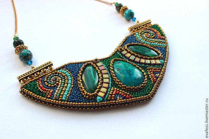 """Купить Колье """"Древний мир"""" - зеленый, синий, золотой, голубой, египет, египетский стиль, этно"""