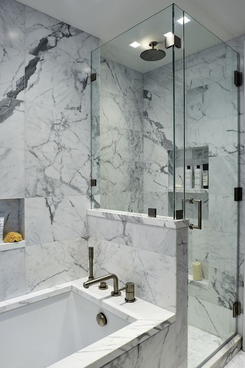 Park Avenue Bathroom in Statuary Marble by Katch I.D. Interiors