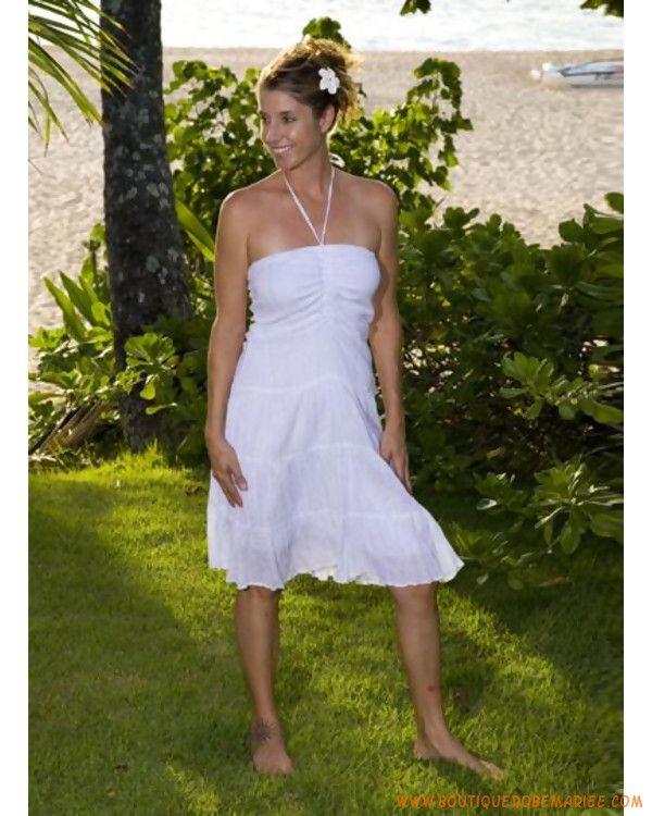 Robe de mariée longue aux genoux pour un mariage au jardin