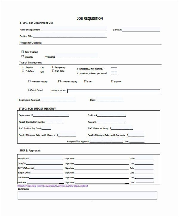 Employee Requisition Form Sample Awesome Job Requisition Template