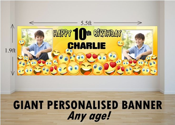 Personalised GIANT Large Happy Birthday Banner EMOJI Girls Boys N79 ANY AGE #ThePersonalisedPartyCo #BirthdayChild