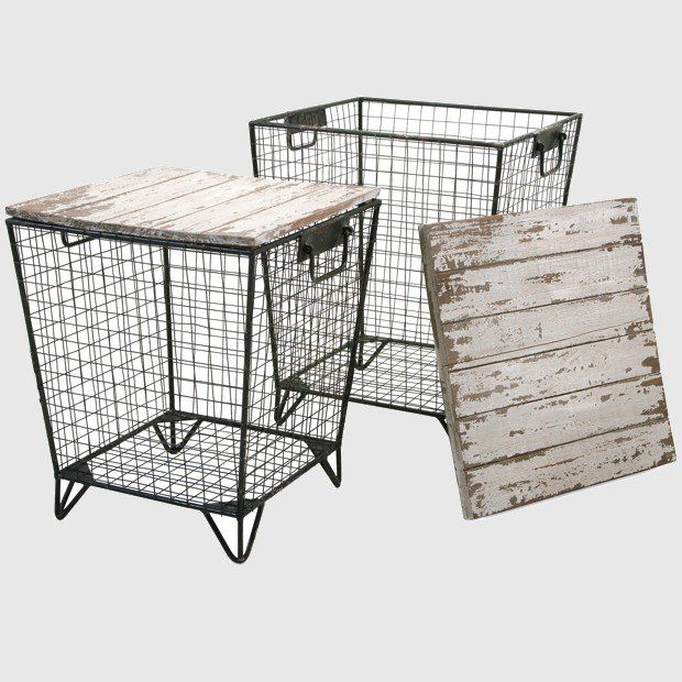 Wrought Iron Basket Tables with Wood Tops, Set of 2