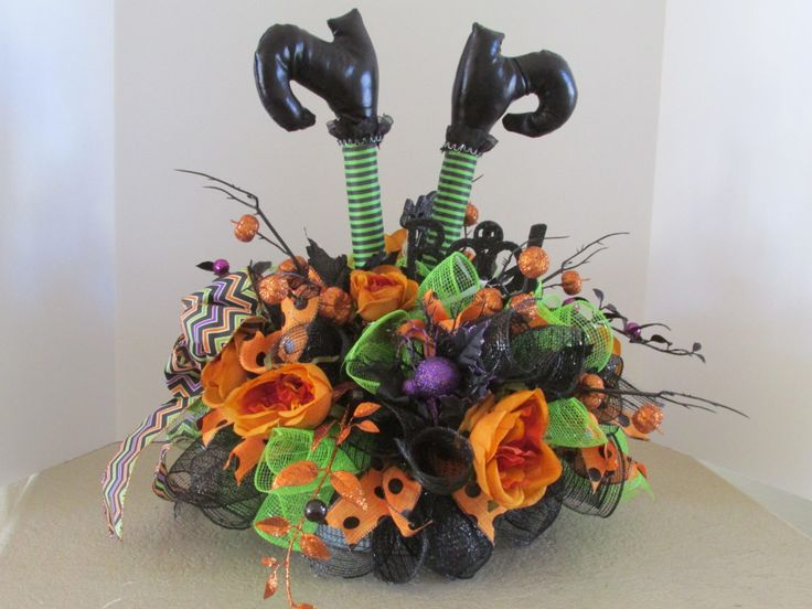 halloween centerpiece blackgreen striped witchs legs halloween arrangement halloween table arrangement - Halloween Centerpieces