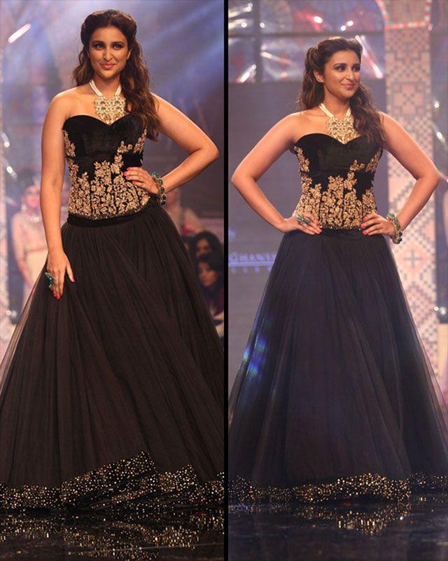 Parineeti Chopra turned showstopper in a black strapless Shyamal and Bhumika lehenga.