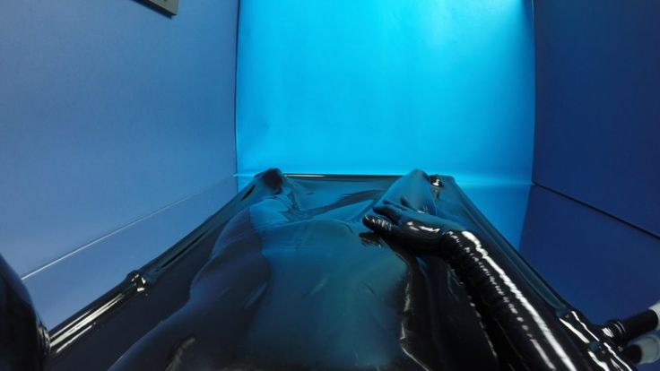 Latex vacbed with sleeves headcamera ... by Eurocatsuits.com