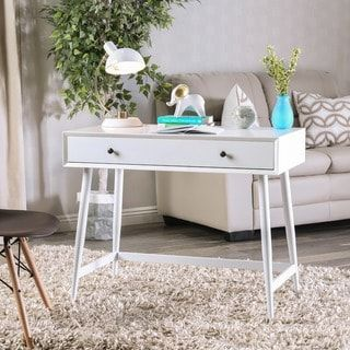 Shop for Furniture of America Cuperan Mid-Century Modern Glossy White Wood Writing Desk. Get free shipping at Overstock.com - Your Online Furniture Outlet Store! Get 5% in rewards with Club O! - 24715594