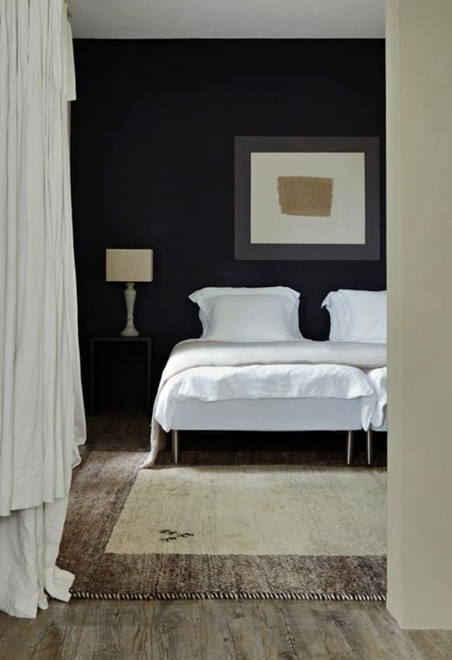 Farrow & Ball off black. bedroom wall