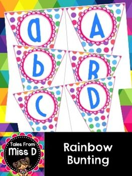 This rainbow bunting will brighten up your classroom and make your displays POP!  Simply print, laminate and hang!