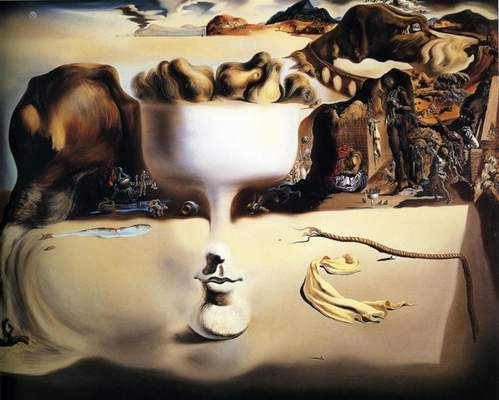 Aparitia unei fete si a unui vas cu fructe pe plaja - Salvador Dali