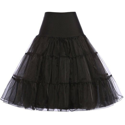 Petticoat for xmas party dress Women's 50s Retro Petticoat Underskirt Vintage Swing 1940's Crinoline (Black,S)