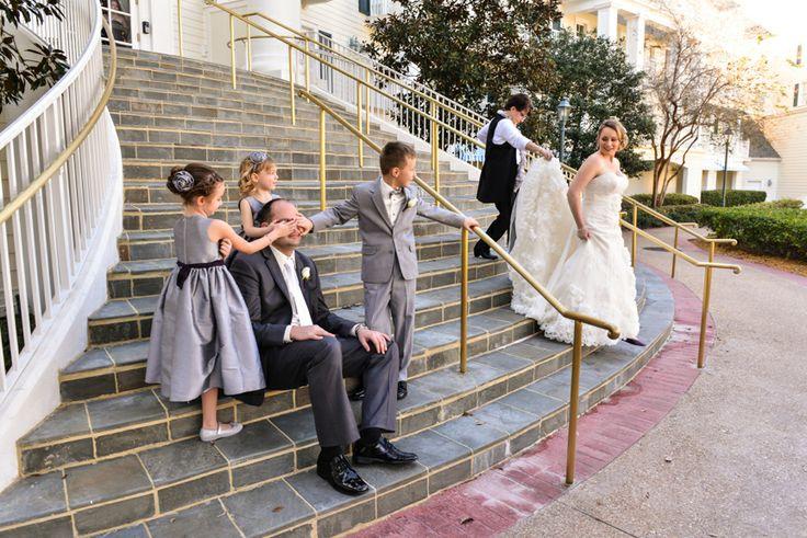 This bride had a little help making sure her groom didn't sneak a peek at her dress #wedding #Disney