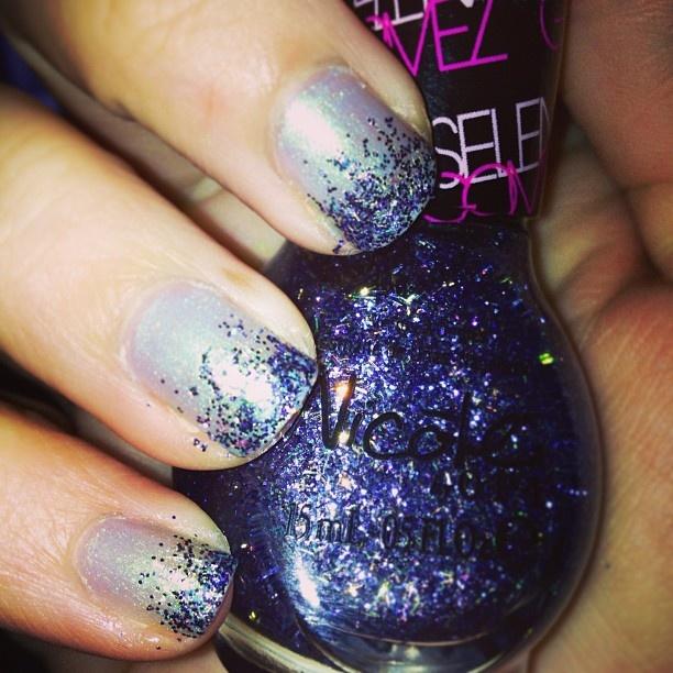 Ombre glitter nails #ombre #nails #opi #nicole #selenagomez