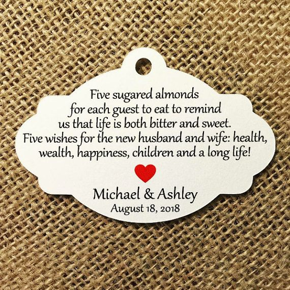 Favor Tags Jordan Almond Sugared Italian Wedding With Heart Cut Out Quany 25