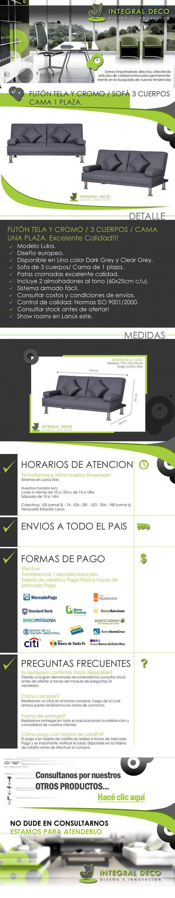 (1) Futon Tela Y Cromo / Sofa 3 Cuerpos / Cama 1 Plaza - $ 4.990,00 en MercadoLibre