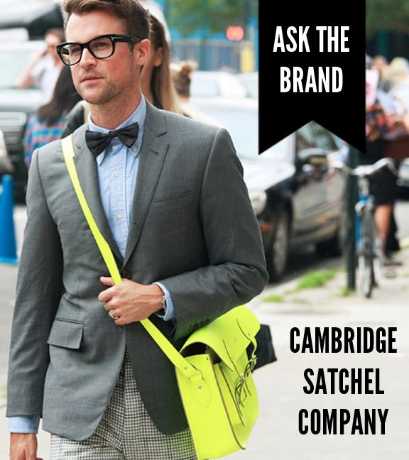 The street-style must-have brand Cambridge Satchel Company talks social media w/ IFB: Best Friends, Neon Bags, Cambridge Satchel, Men Style, Men Fashion, My Best Friend, Street Fashionstitch, Brad Goreski, Neon Yellow