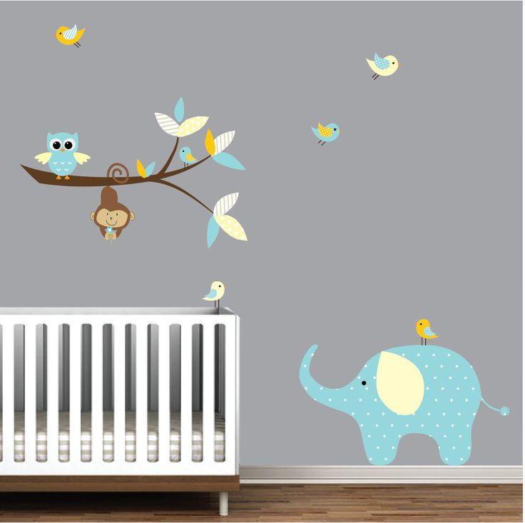 Wall decals branch with elephant monkey vinyl wall decals for Elephant mural nursery