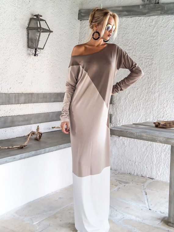 Dark Taupe Beige Ivory Maxi Dress Abaya / от SynthiaCouture