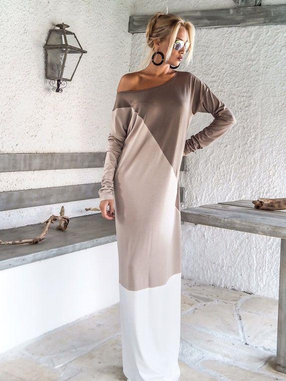 Dark Taupe Beige Ivory Maxi Dress Abaya / от SynthiaCouture