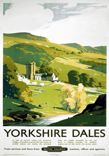 British Railways (North Eastern Region) travel poster of The Yorkshire Dales showing hills, moors, valleys and a small hamlet with an old church. In the foreground a shepherd rests by the tranquil riverside. 1953. Artwork by Frank Sherwin.