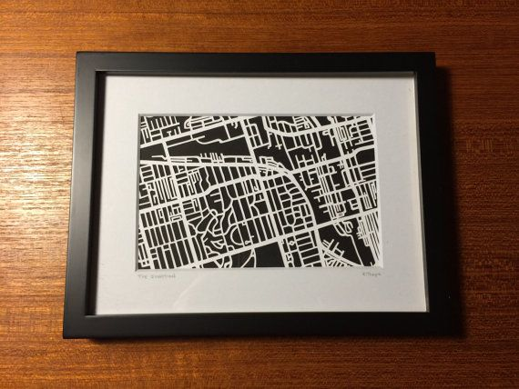 Hand cut paper map of The Junction in Toronto ON 4x6 by CUTdesignsrt