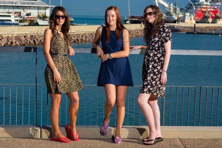 Girls enjoying the #Darwinnt Waterfront in their Slappa's Thongs